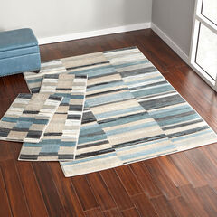 Oxford Blue Stripe 3-Pc. Rug Set,
