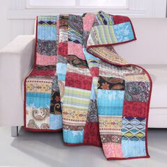Greenland Home Fashions Bohemian Dream Quilted Patchwork Throw Blanket, MULTI