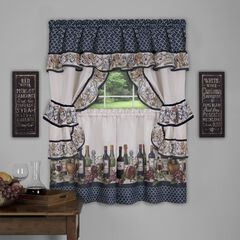 Chateau Cottage Window Curtain Set, NAVY