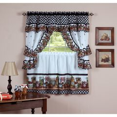 Mason Jars Window Curtain Set, BLACK WHITE