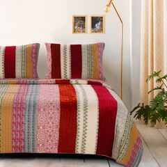Marley Cranberry Quilt Set by Greenland Home Fashions, CRANBERRY