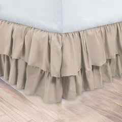 Double Ruffle Bedskirt, LINEN