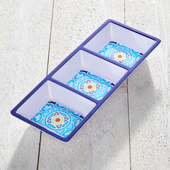 Blue Casab Melamine 3-Section Tray,