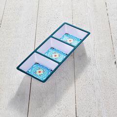 Blue Casab Melamine 3-Section Tray, MULTI