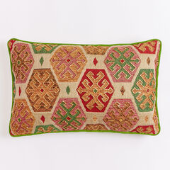 "14"" x 22"" Beaded Geo Pillow,"