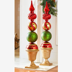 Ornament Topiary Statue, RED GREEN GOLD