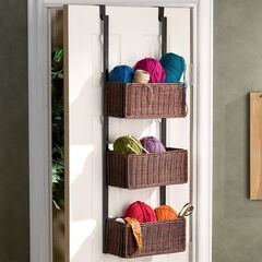 Over The Door 3 Tier Basket Storage, BLACK