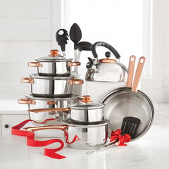 17-Pc. Cookware & Utensil Set with Copper Knobs, SILVER COPPER