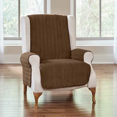Reversible Plush Stripe Chair Protector, CHOCOLATE