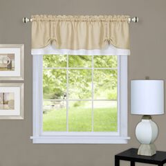 Charlotte Window Curtain Valance, TAN WHITE