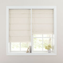 Cordless Large Fold Textured Roman Shade, IVORY