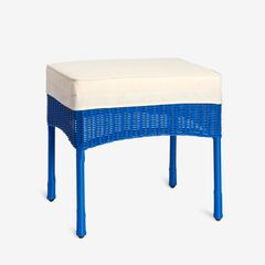 Roma All-Weather Resin Wicker Ottoman, CORNFLOWER BLUE
