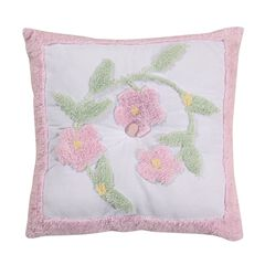 Bloomfield Collection in Floral Design 100% Cotton Tufted Chenille Square Pillow , ROSE