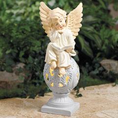 Sitting Angel Statue with Warm Solar Light,