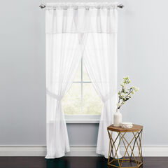 BH Studio Sheer Voile 5-Pc. One-Rod Curtain Set, EGGSHELL