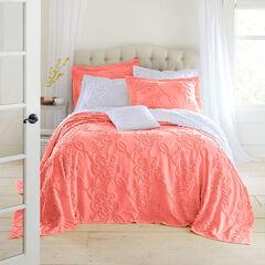 Flora Chenille Bedspread, CORAL