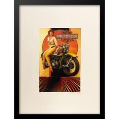 Vintage Harley Davidson Motorcyles 14x18 Framed Print, ORANGE MULTI