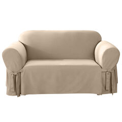 Mix & Match Solid Cotton Loveseat Slipcover ,
