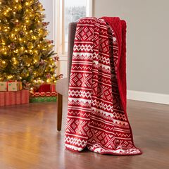 Holiday Printed Reversible Sherpa Throw,