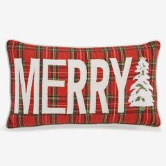 Holiday Lumbar Pillow, MERRY PLAID