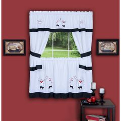 Gourmet Embellished Cottage Window Curtain Set, BLACK
