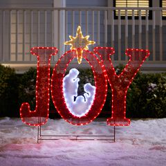 "45""H Pre-Lit ""Joy"" Sign with Holy Family,"