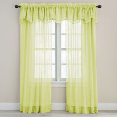 BH Studio Sheer Voile Layered Valance, PEAR