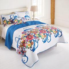 Jardin Floral Spring Quilt, WHITE BLUE