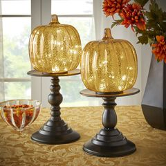 "16"" Pre-Lit Glass Pumpkin on Metal Stand, GOLD"