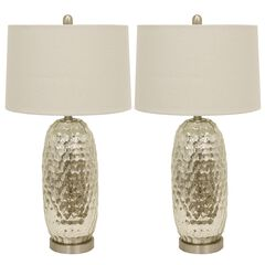 1 Set Antique Mercury Dimple Glass Table Lamp Off-White Linen Hardback Shade by J. Hunt, STEEL