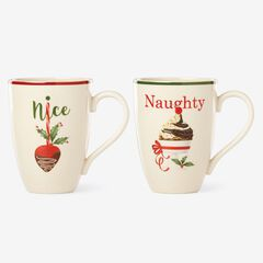 Lenox® Hosting The Holidays, Set of 2 Naughty & Nice Mug Set, WHITE
