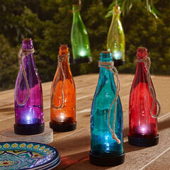 Pre-Lit Glass Bottles, Set of 6,
