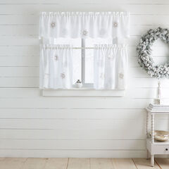 Snowflake Applique Valance, WHITE