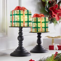"""14½""""H Pre-Lit Gift Box on Stand,"""