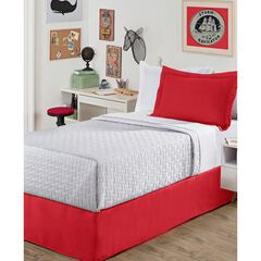"""Luxury Hotel Kids Tailored 14"""" Drop Red Bed Skirt, RED"""