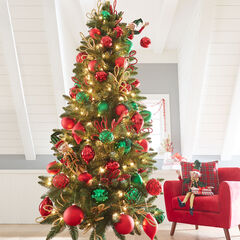 7' Slim Arrow-Tip Pre-Lit Tree, GREEN