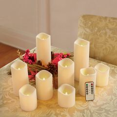 Battery-Operated Candles with Remote, Set of 9,