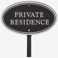 Private Residence Oval Wall/Lawn Statement Plaque, BLACK SILVER