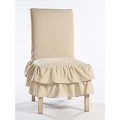 2-Tier Ruffled Dining Chair Slipcover ,