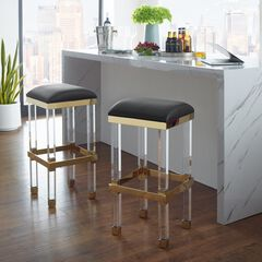 Radnor Upholstered Acrylic Barstool, BLACK