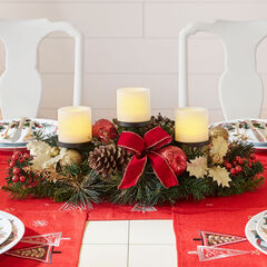 Pre-Decorated Candle Holder Centerpiece , RED