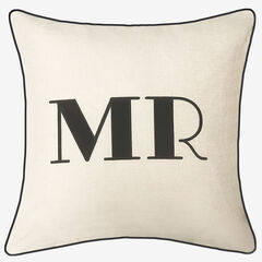 "Embroidered Appliqued ""Mr"" Decorative Pillow,"