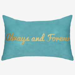 """Always and Forever"" Metallic Velvet Decorative Pillow, MINERAL BLUE"