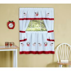 Gala Embellished Cottage Window Curtain Set, RED