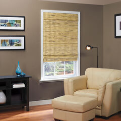 Cordless Natural Woven Bamboo Roman Shade, BURNOUT