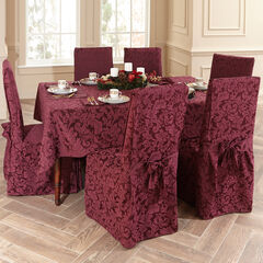 9-Pc. Round Damask Table Linen Set, BURGUNDY