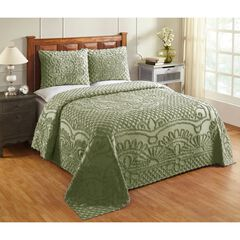 Trevor Collection Tufted Chenille Bedspread Set by Better Trends, SAGE