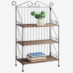 Farmington 3 Tier Folding Weave/Black Iron Shelf, BROWN