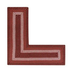 "Alpine Braid Collection Reversible Indoor Area in Vibrant Colors, 24"" x 68"" x 68"" L-Shape by Better Trends, BURGUNDY STRIPE"