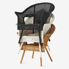 Roma All-Weather Wicker Stacking Chair, BLACK